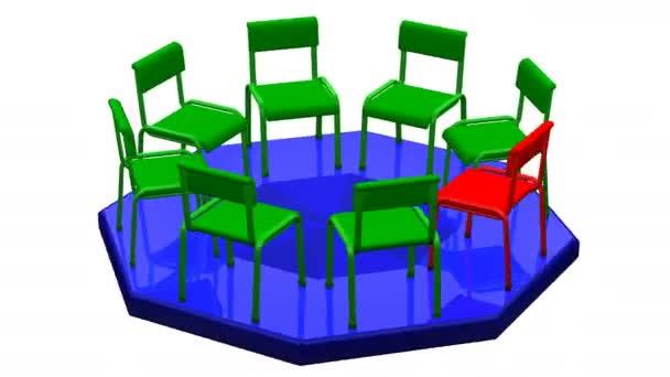 Konzept: Treffen. Stühle drehen sich um. 3D-Darstellung.