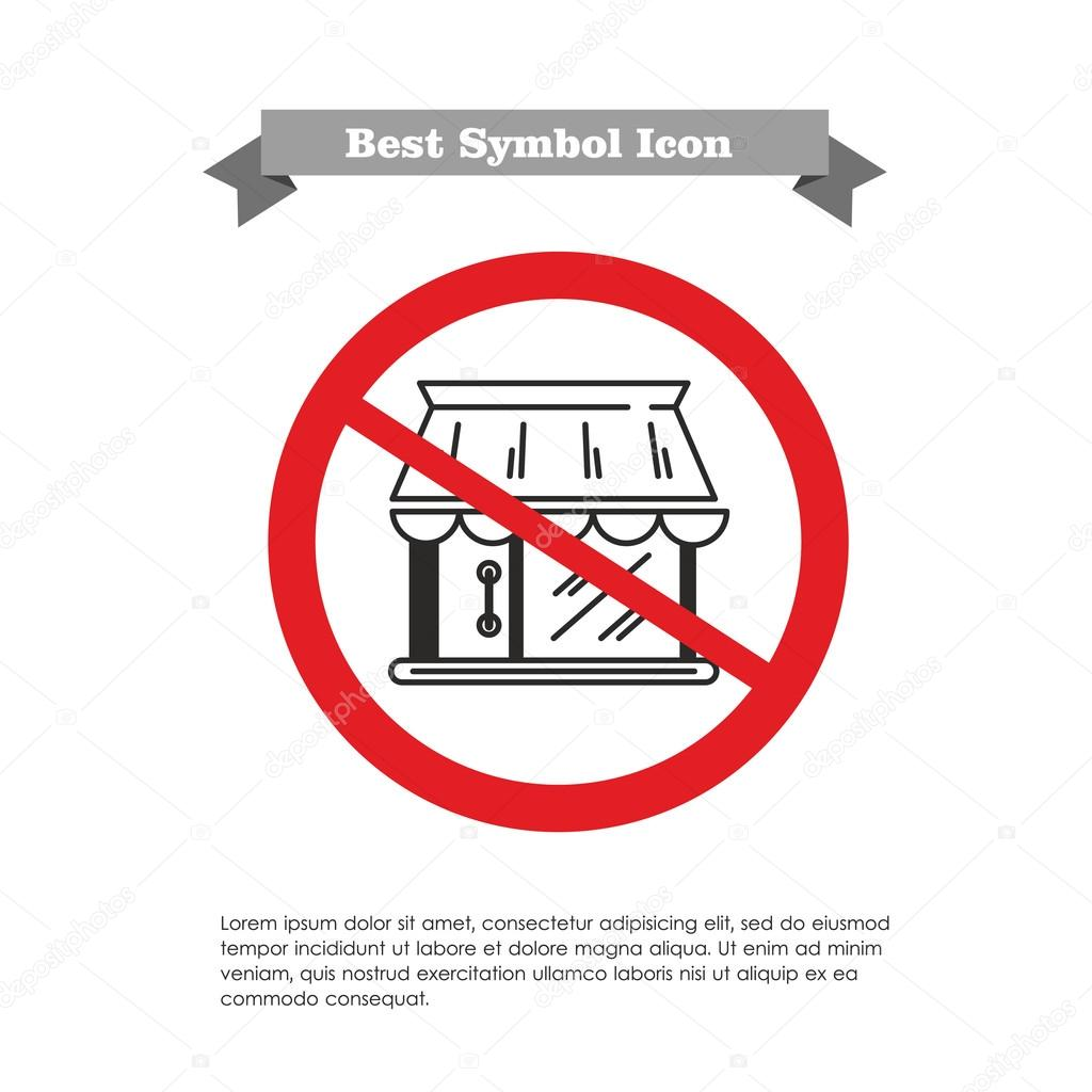No shop building icon stock vector redinevector 74800751 vector icon of shop building in prohibition sign with text on grey ribbon and sample text vector by redinevector biocorpaavc Image collections