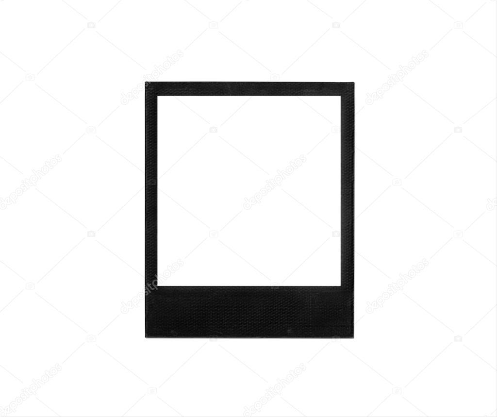 Black photo frame isolated on white background. Polaroid-style image ...