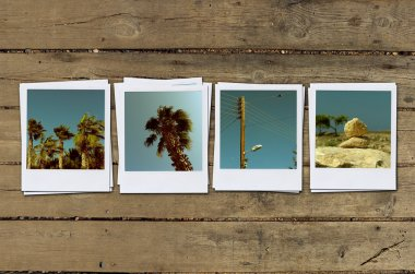 Instant photo on wood
