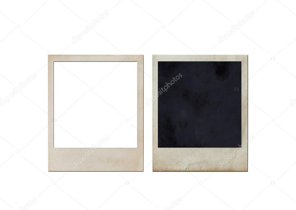 Antiguo marco de fotos instantánea aislado sobre fondo blanco ...