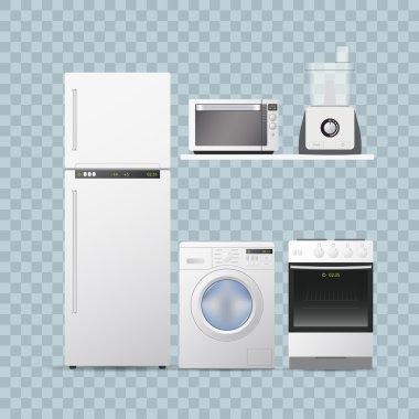 Set household appliances for kitchen. transparent background, realistic vector illustration.