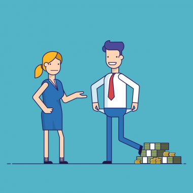 Man cheating woman. Businessman with lots of money evades payment. Financial fraud. Greedy man in trousers and shirt. False bankruptcy. Thin line vector illustration in flat style.