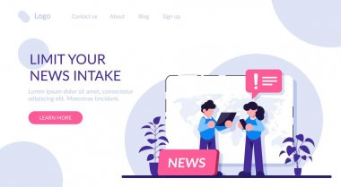Limit your news intake concept. Social media connections. online news, News webpage, information about events, activities, company information and announcements. Modern flat illustration icon