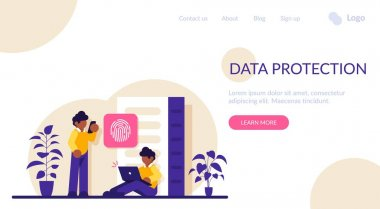 Data protection concept. Database security. Big data storage, big data engineering, data protection, disk infrastructure, business information safety, access policy. Modern flat illustration icon