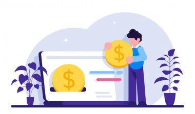Cashback concept. Happy people receiving cashback for a buyer. oins or money transfer from laptop to e-wallet. Online banking. Saving money. Money refund. Modern flat illustration icon