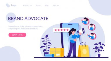 Brand advocate flat concept vector. Trademark advocacy strategy, positive image creation, social media comments. Brand attorney, digital marketing, internet. Modern illustration icon