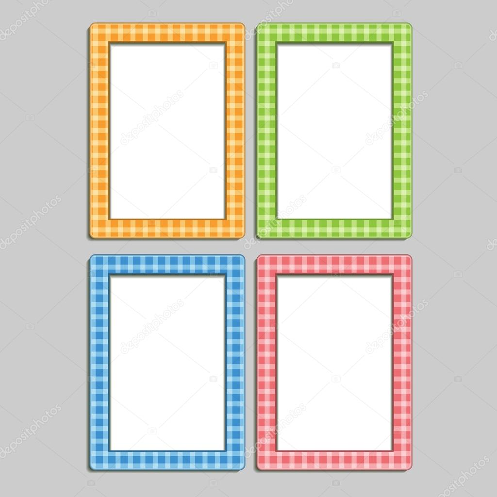 4 multi colored childrens photo frames in the box blue orange red and green vector by shendart