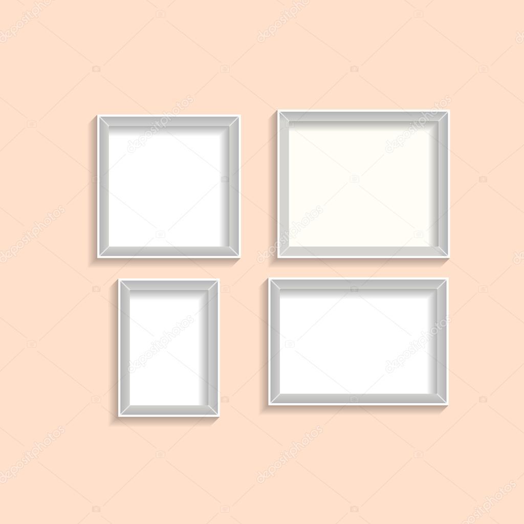 Cuatro marcos de la foto gris de diferentes tamaños con sombras ...
