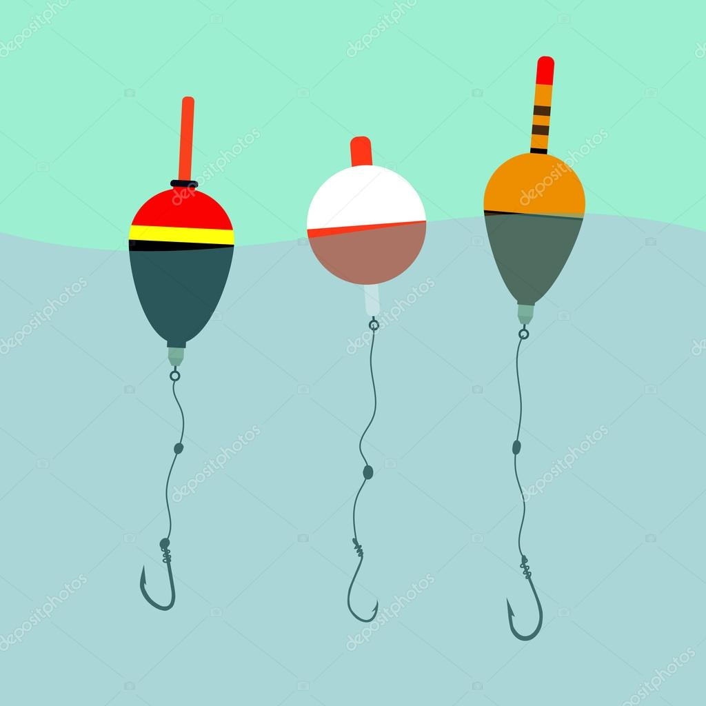 three floats with hooks under water, waves, fishing, leisure.