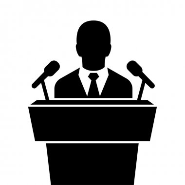 speaker black icon. orator speaking from tribune vector