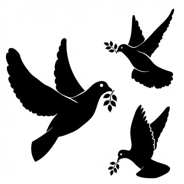 Set vector black silhouette flying dove, olive