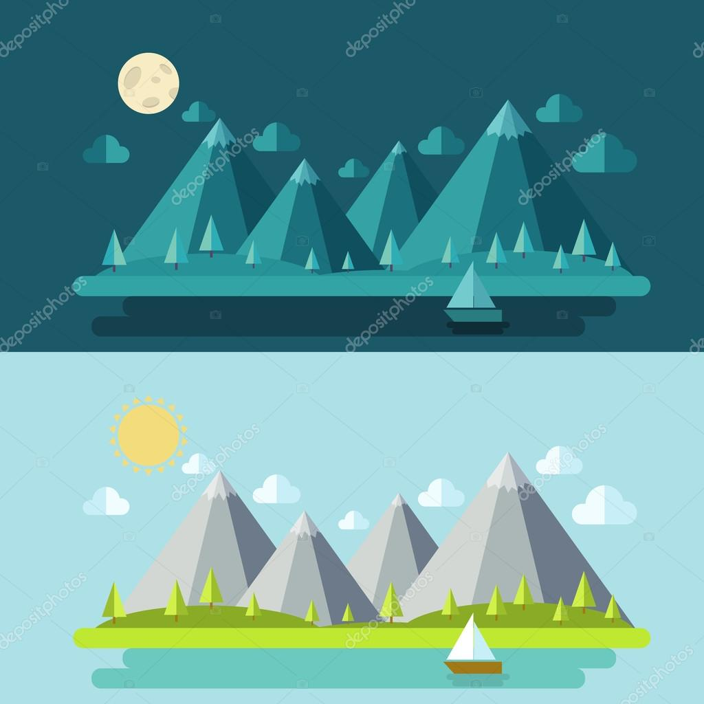 Set modern flat design with houses and mountains.