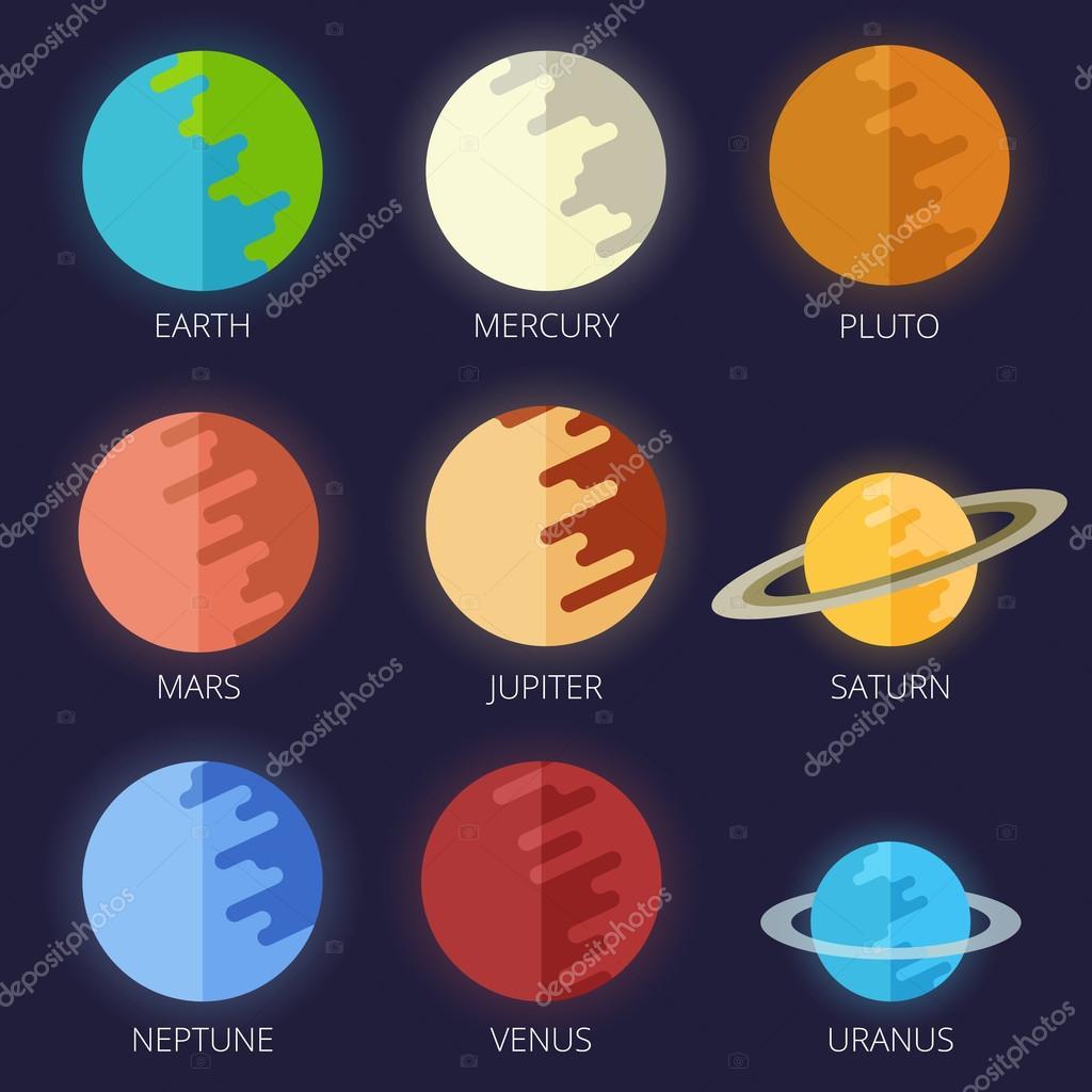 Animado Saturno Desenho Del Sistema De Planetas Solares
