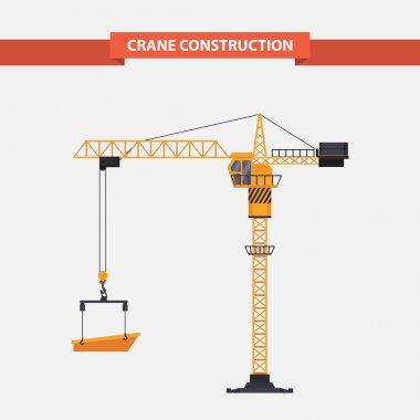 Construction cranes tower. illustration flat
