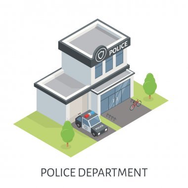 Isometric police department building. Patrol car