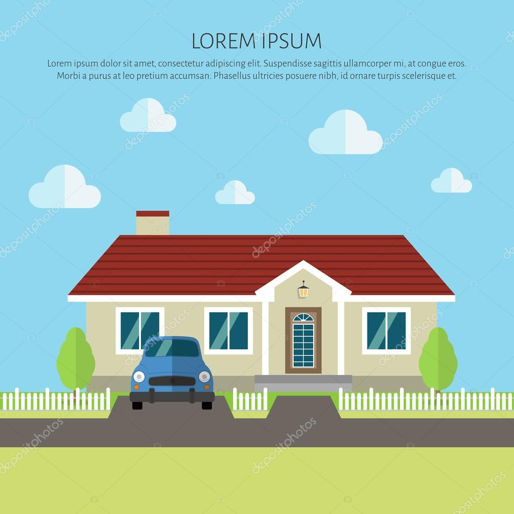 Facade Apartment House Cottage Flat Style Background Of Trees Old Car Vector By ShendArt