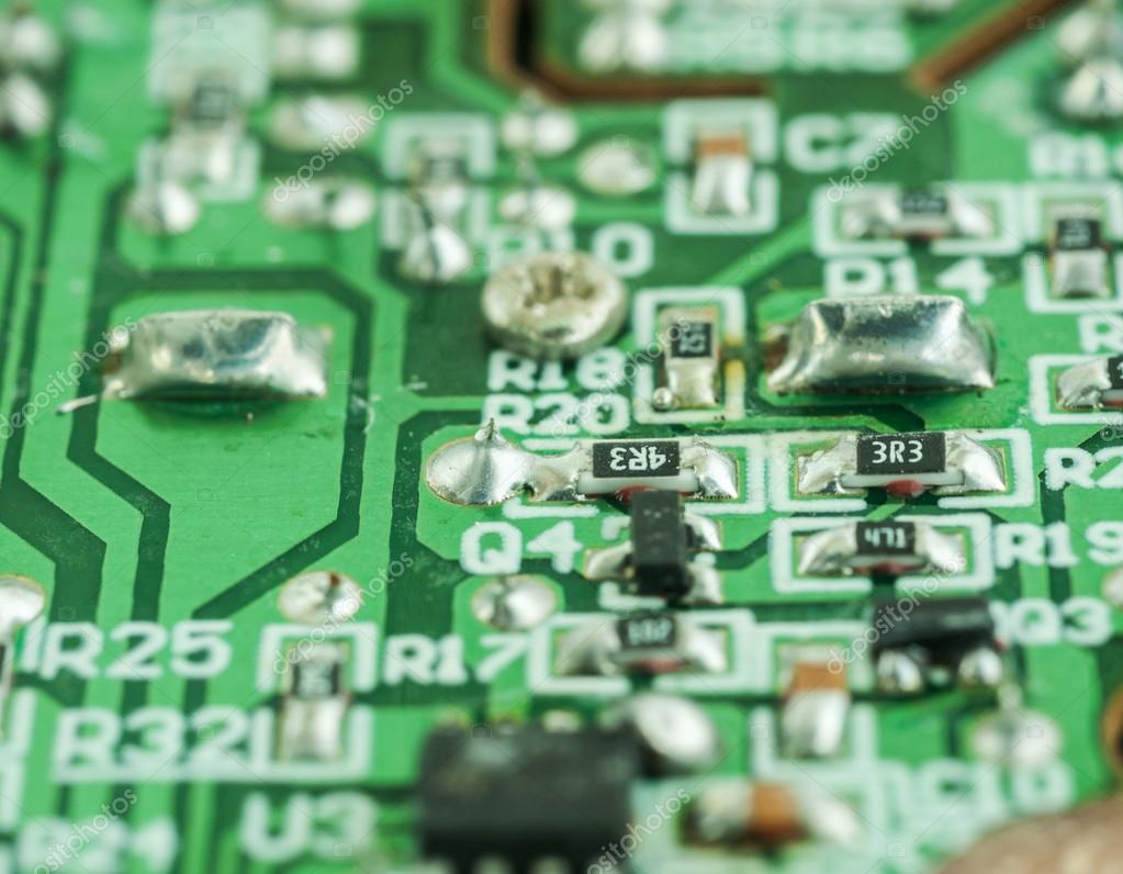 Closeup Of An Electronic Printed Circuit Board Stock Photo Stockfoto Pcb Used In Industrial Broken With Many Electrical By Jimbophoto