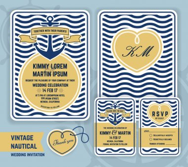 Vintage nautical anchor wedding invitation template