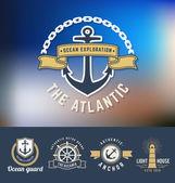 Sada námořních Logo šablony