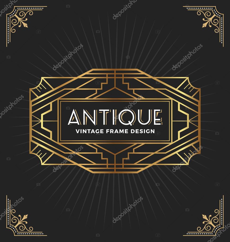 Vintage art deco frame for decorative design — Stock Vector © raftel ...