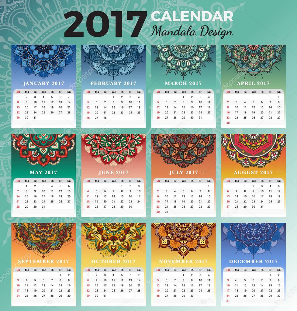 Dise 241 O De Calendario 2017 Mensual Para Imprimir Con Los