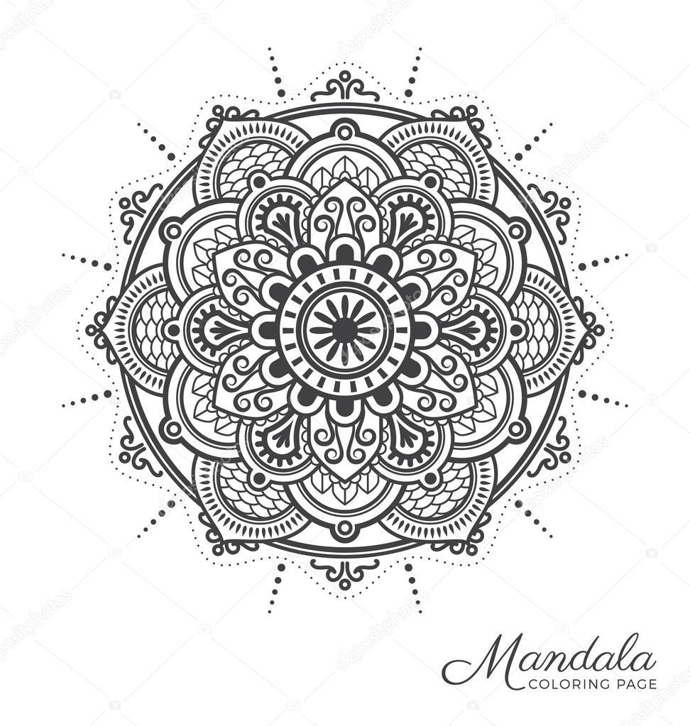 Dise o de ornamento decorativo mandala tibetano vector for Disenos de mandalas