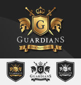 Fotografie Shield and Two Guardians with cross knight crest logo