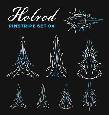 Set of vintage pin striping line art. include un-expand path