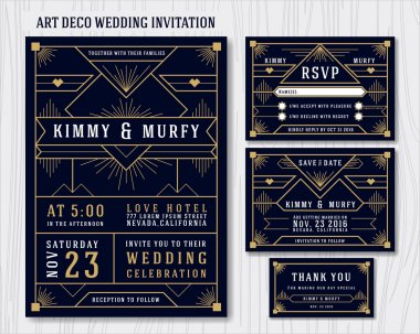 Art Deco Wedding Invitation Design Template