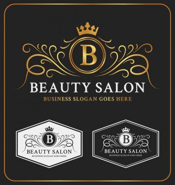 Beauty Salon Heraldic Crest Logo Template Design. Flourish line monogram logotype. Vector illustration clip art vector