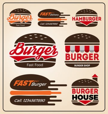 Set of burger shop icon logo design