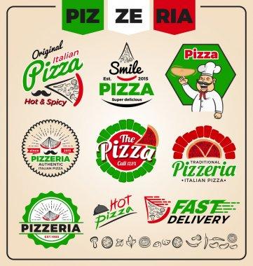 Set of pizzeria logo template design.