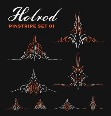 Set of two tone vintage pin striping line art.