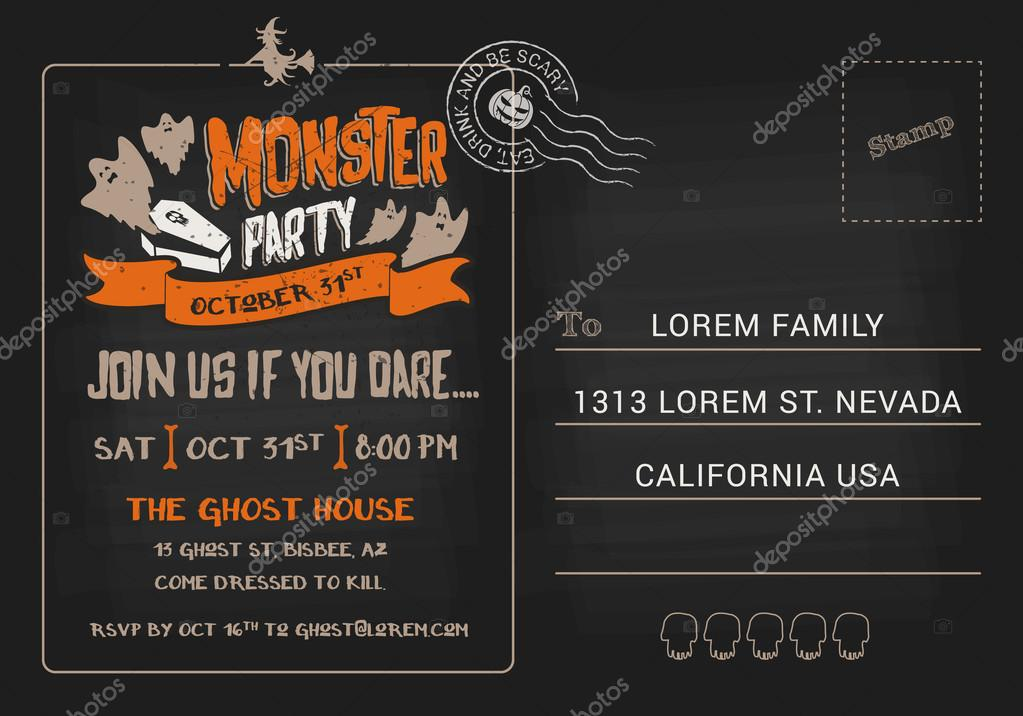 Halloween monster party postcard invitation template vetores de halloween monster party postcard invitation template vetores de stock stopboris Images