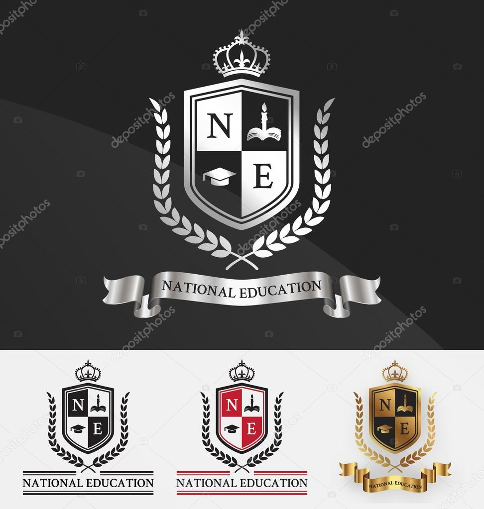 Shield and wreath laurel with crown crest logo design