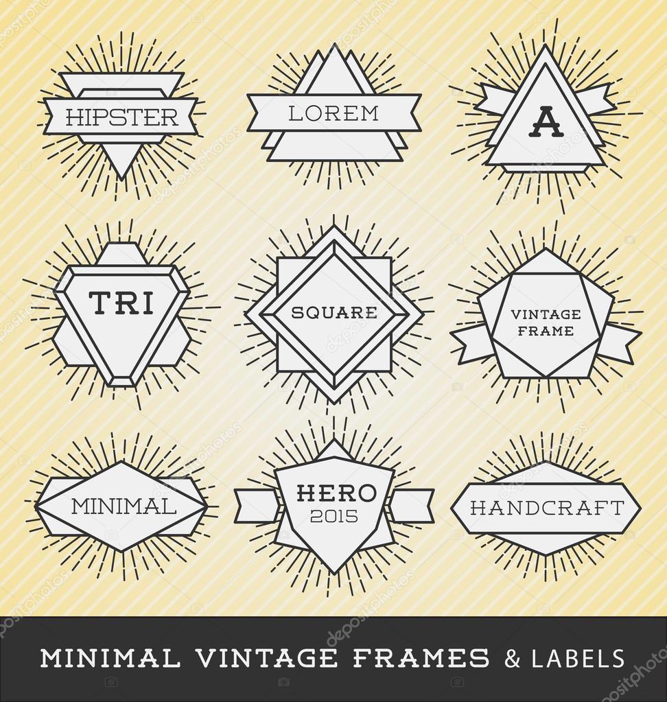 set of vintage line frames and labels with sunburst ストック