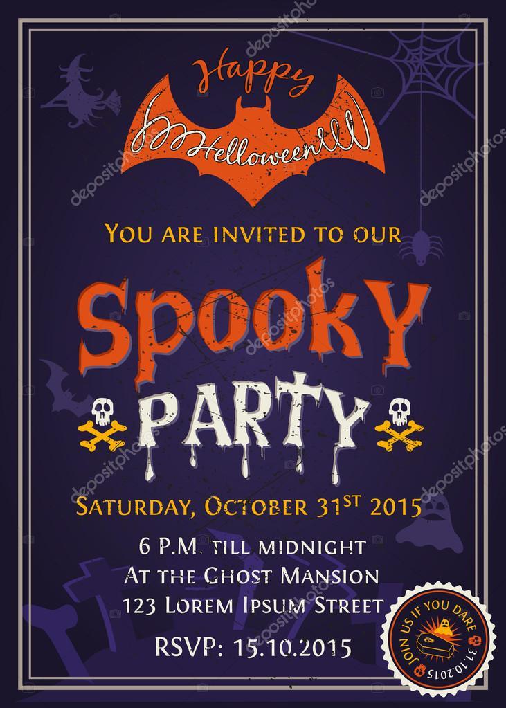 Spooky halloween party invitation card design vetores de stock spooky halloween party invitation card design vetores de stock stopboris Choice Image