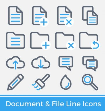 File and Directory Management Thick and Thin Line Icons Design