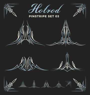 Set of vintage pinstripe line art.