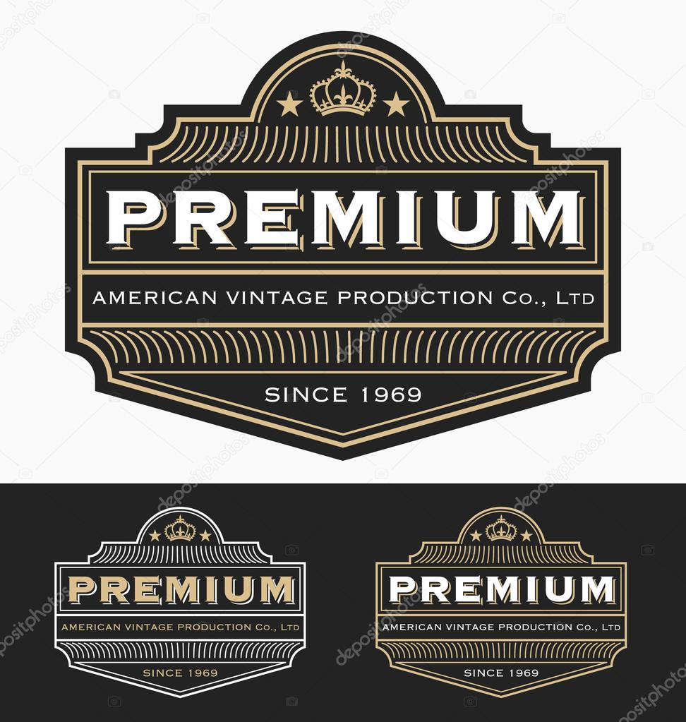 vintage badge logo label design for premium product — stock vector