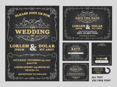 Vintage Chalkboard Wedding Invitations design set
