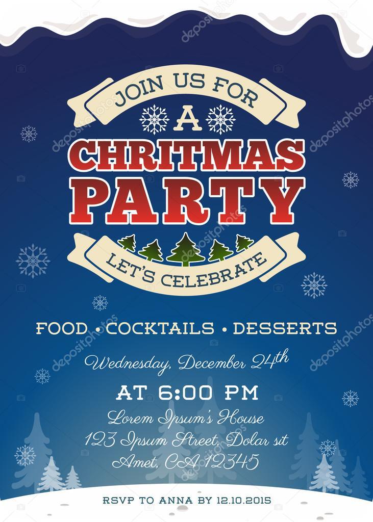 Diseño de plantilla de invitación de fiesta de Navidad — Archivo ...