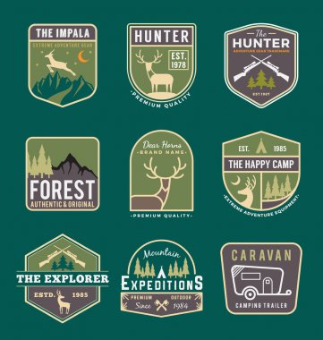 Set of trekking, camping, outdoor and adventure logo