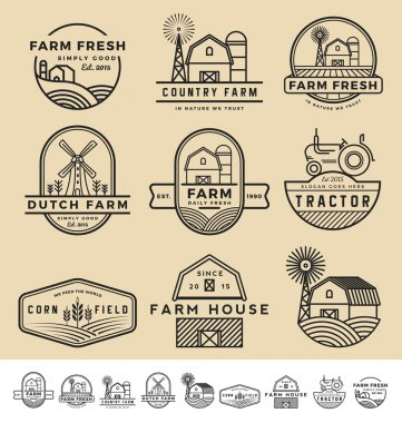 Set of vintage and modern farm badge logo