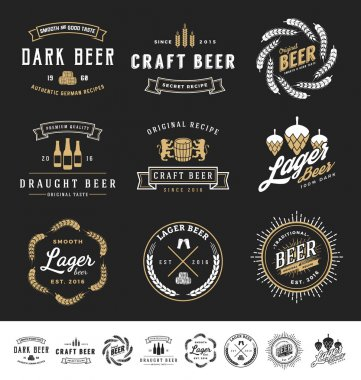 Collection of 9 Beer Logos, Badges