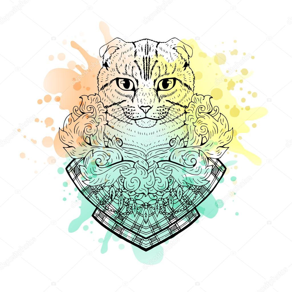 Black And White Animal Cat Head Watercolor Abstract Art