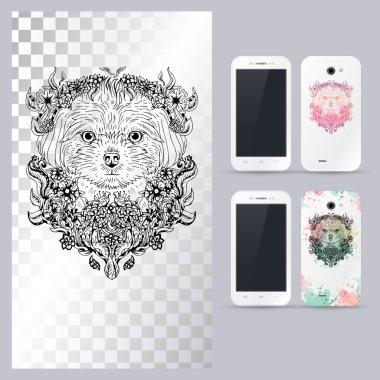 Black and white animal dog head. Vector illustration for phone case.