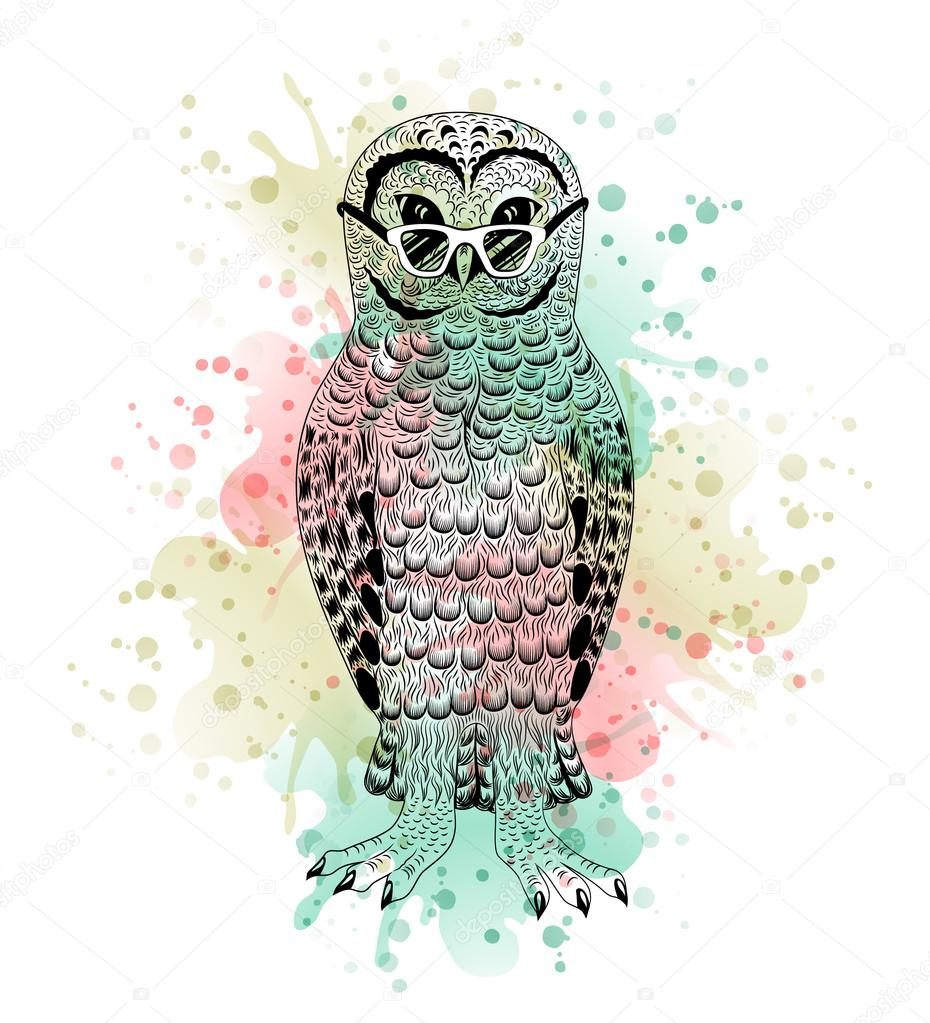 Animal Watercolor Tattoo Black And White Animal Owl