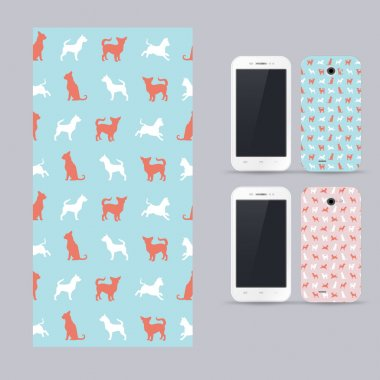 Phone case design. Vector chihuahua small dog pattern.